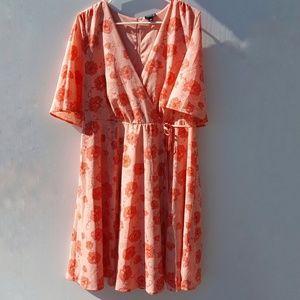 Torrid | Floral Print Dress Plus Size 14 Orange